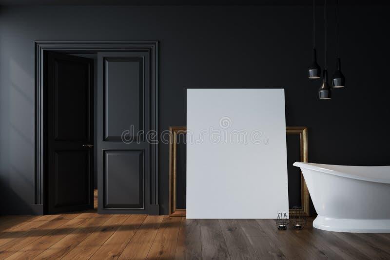 Cuarto de baño negro, tina blanca, cartel libre illustration