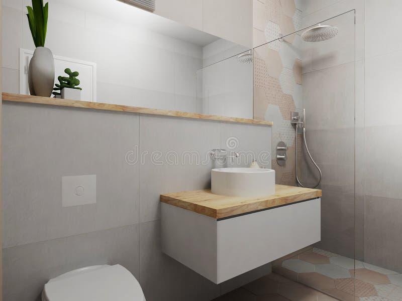 Cuarto de baño rosado y gris moderno stock de ilustración