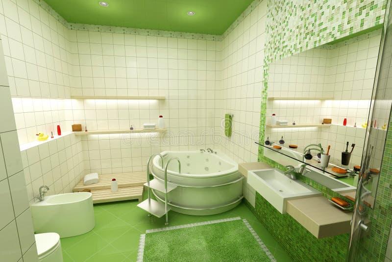 Cuarto de baño verde foto de archivo
