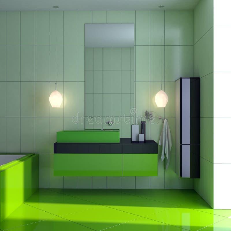 Cuarto de baño verde stock de ilustración