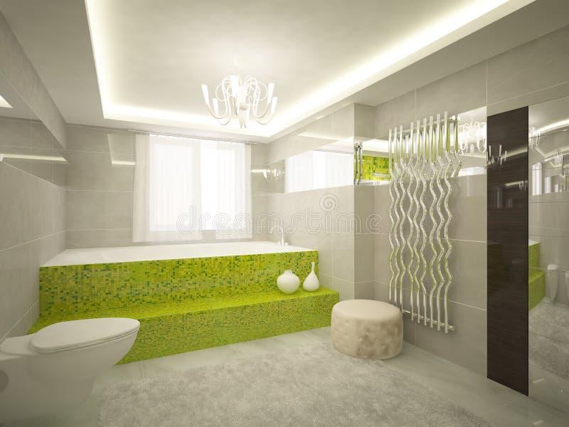 Cuarto de baño verde 3d stock de ilustración