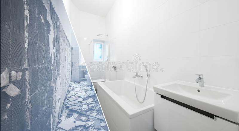 Cuarto de baño viejo y nuevo de la renovación del cuarto de baño - imágenes de archivo libres de regalías