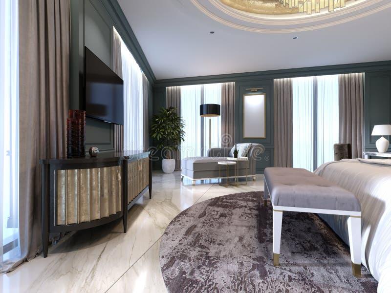 Cuarto de invitados en un nuevo hotel lujoso con el espacio abierto, un dormitorio y un salón de la sala de estar libre illustration