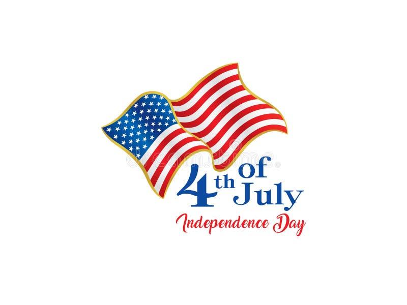 Cuarto de julio, logotipo indicado unido del Día de la Independencia ilustración del vector