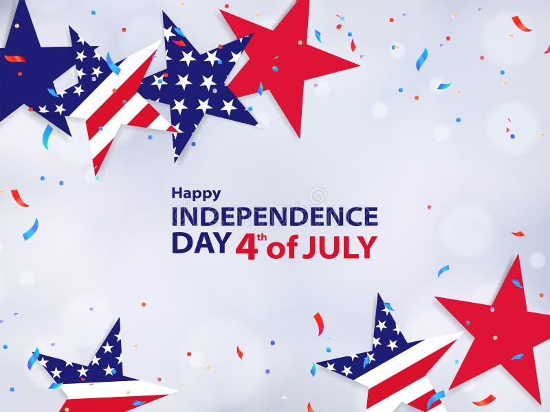 Cuarto de julio 4to de la bandera del día de fiesta de julio, fondo en venta, descuento, anuncio, web stock de ilustración