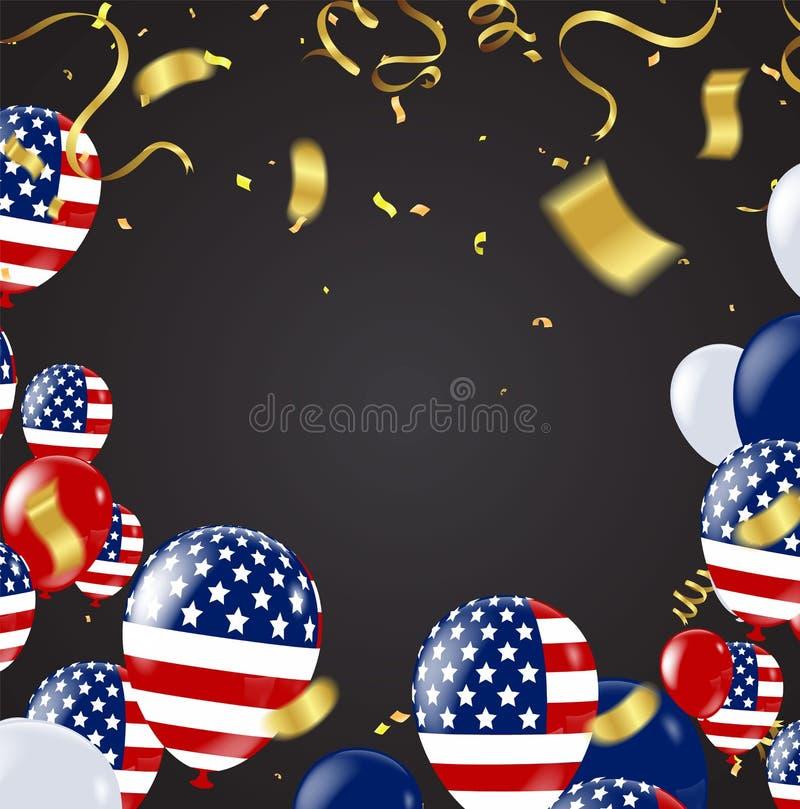 Cuarto de julio 4to de la bandera del día de fiesta de julio Día de la Independencia de los E ilustración del vector
