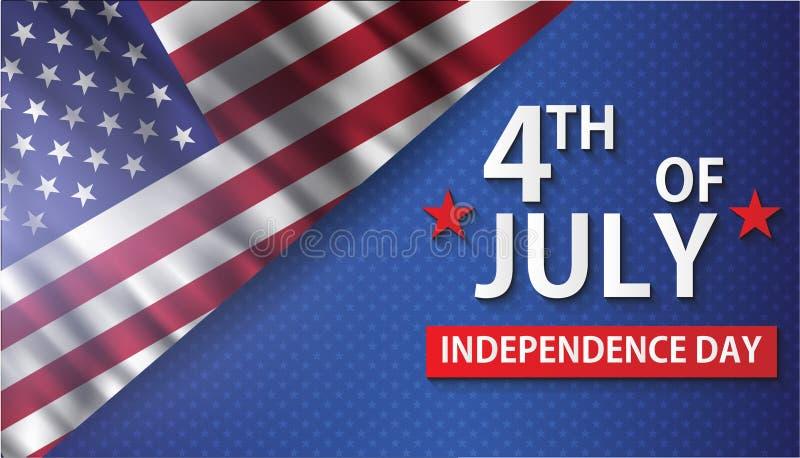 Cuarto de la tarjeta de felicitación realista del vector de julio Independenc feliz ilustración del vector