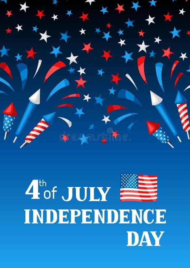 Cuarto de la tarjeta de felicitaci?n del D?a de la Independencia de julio libre illustration