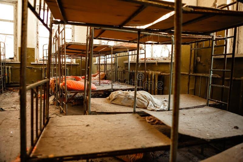 Cuarto de niños abandonado en Chernobyl imagen de archivo