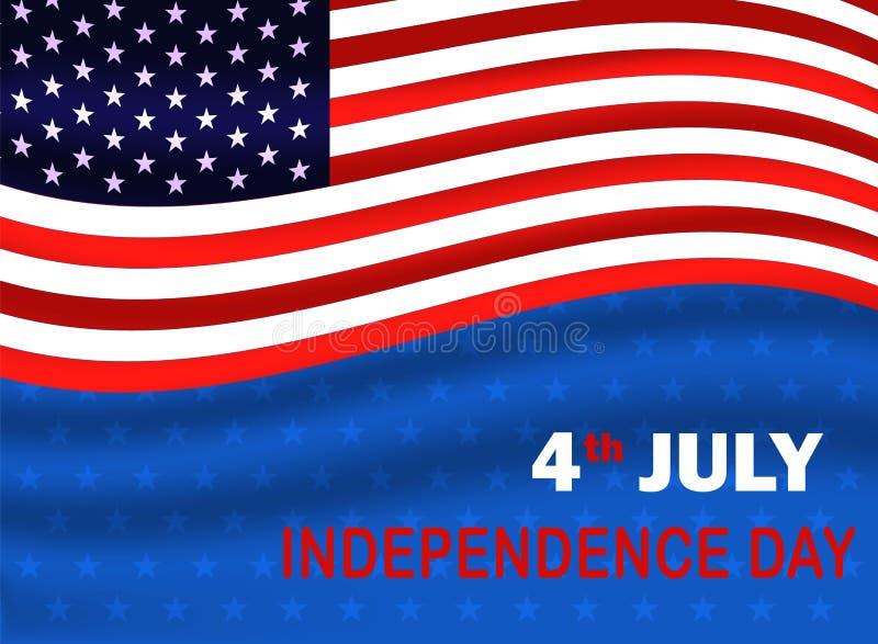 Cuarto del D?a de la Independencia de julio de los E.E.U.U. Bandera de los E.E.U.U. que agita en fondo azul con la estrella Ilust ilustración del vector