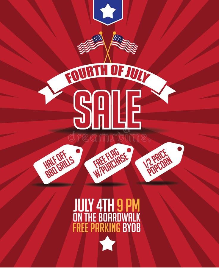 Cuarto del fondo del cartel de la venta de julio stock de ilustración