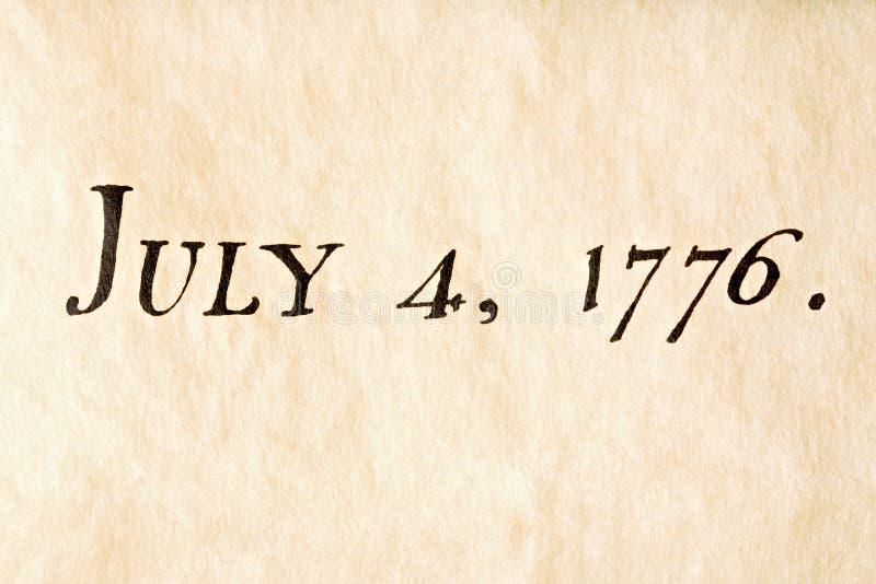 Cuarto del julio de 1776 fotos de archivo