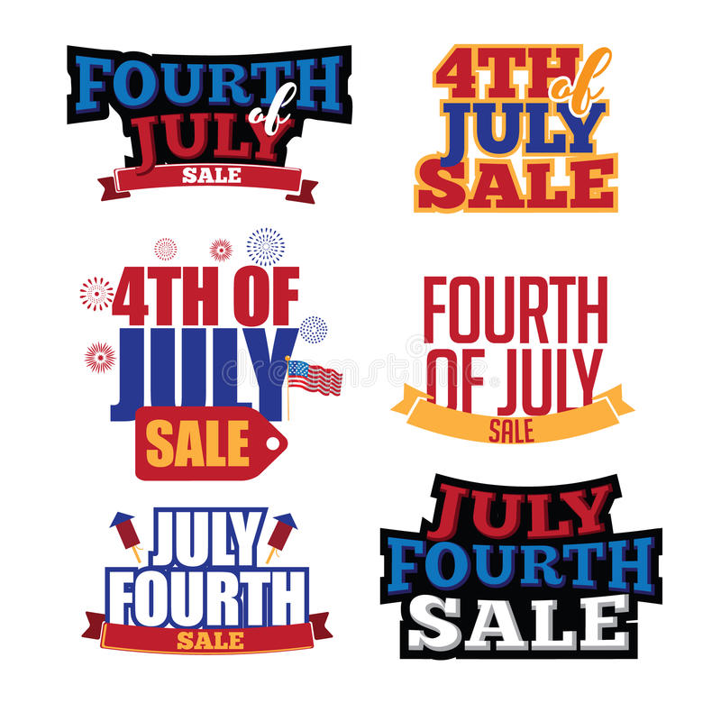Cuarto del tipo colección de la venta de julio del diseño ilustración del vector