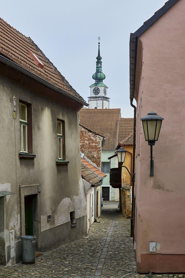 Cuarto y castillo franc?s jud?os, Trebic, Rep?blica Checa, sitio de la UNESCO fotos de archivo