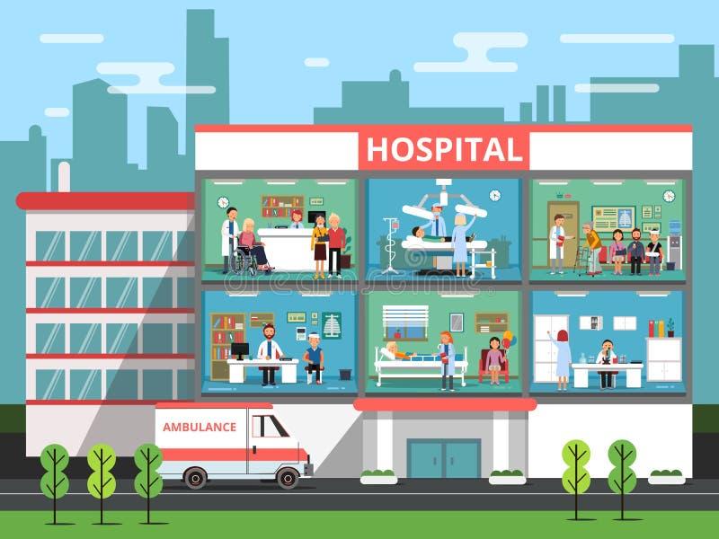 Cuartos de hospital con personales médicos, doctores y pacientes Ejemplos del vector del edificio de la clínica ilustración del vector