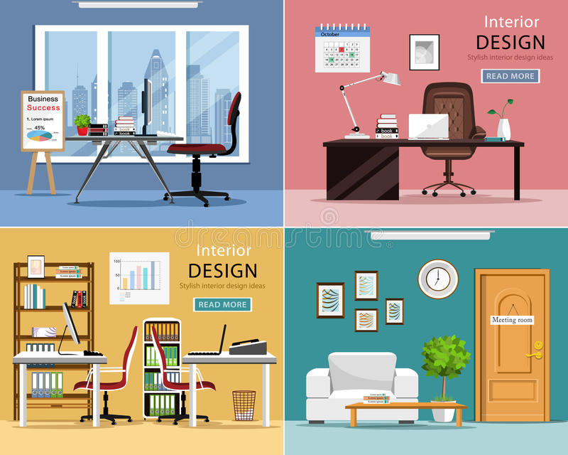 Cuartos de la oficina fijados Interiores gráficos detallados del sitio con muebles: tablas, sillas, ordenadores portátiles y mate libre illustration