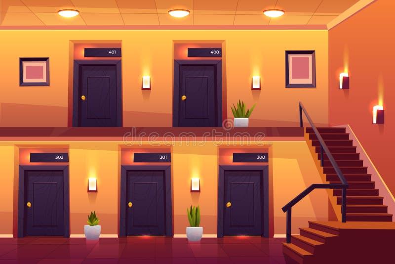 Cuartos en pasillo y escaleras del hotel en segunda planta stock de ilustración