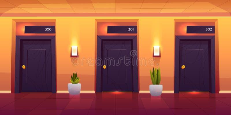 Cuartos en vestíbulo vacío del hotel de lujo del pasillo del hotel libre illustration