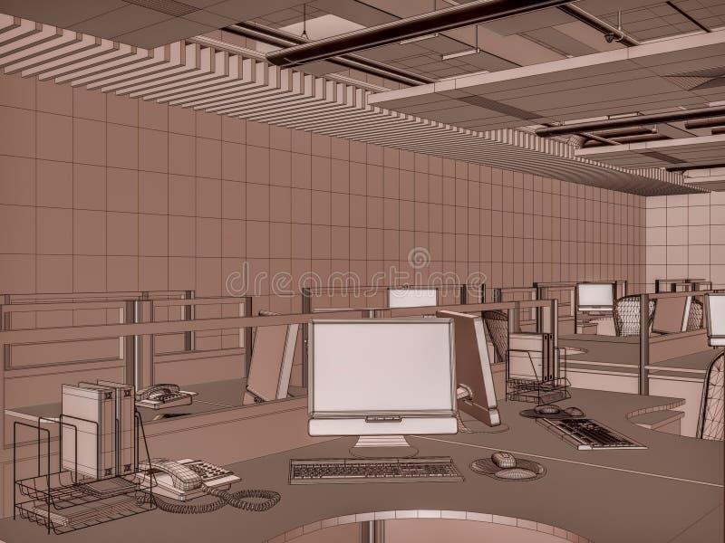 Cuartos interiores de la oficina ilustración del vector