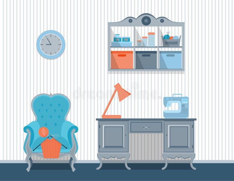 Cuartos interiores para los artes Diseño plano stock de ilustración