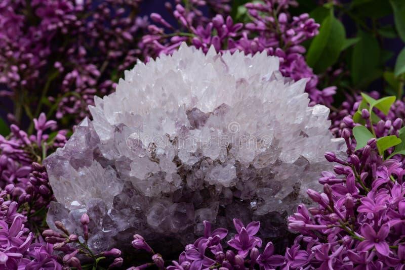 Cuarzo de la aguja con el esp?cimen de la amatista rodeado por la flor p?rpura de la lila foto de archivo libre de regalías