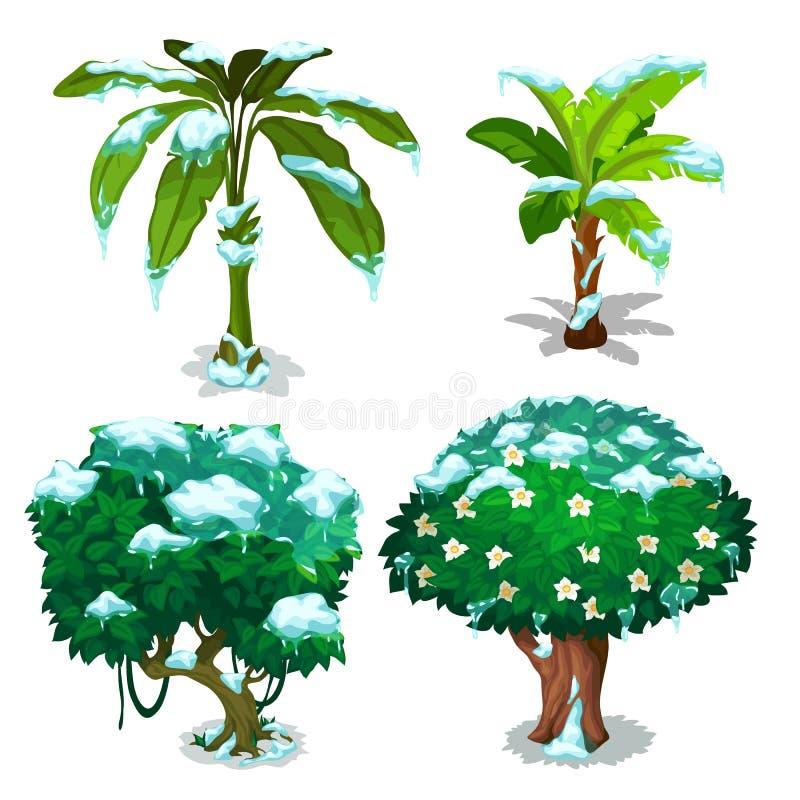 Cuatro árboles con las hojas verdes debajo de escamas de la nieve libre illustration