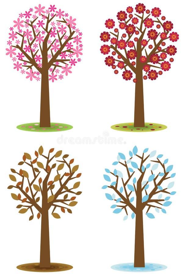 Cuatro árboles de las estaciones libre illustration