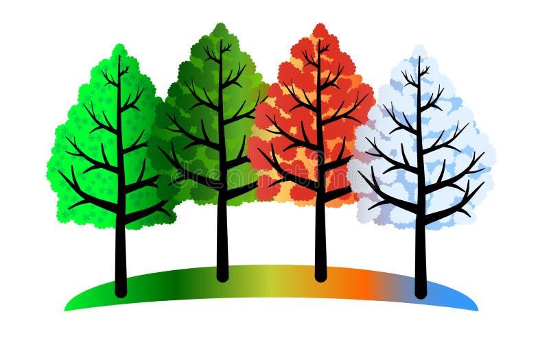 Cuatro árboles de las estaciones stock de ilustración