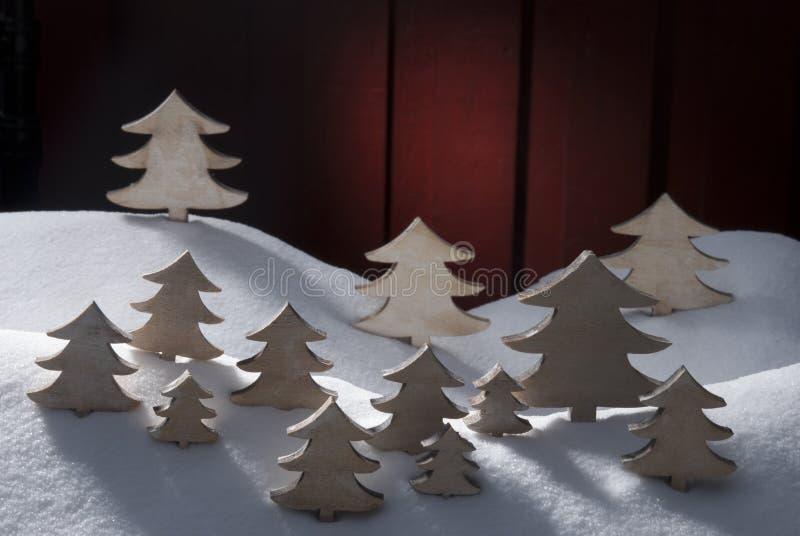 Cuatro árboles de navidad de madera blancos, nieve fotografía de archivo