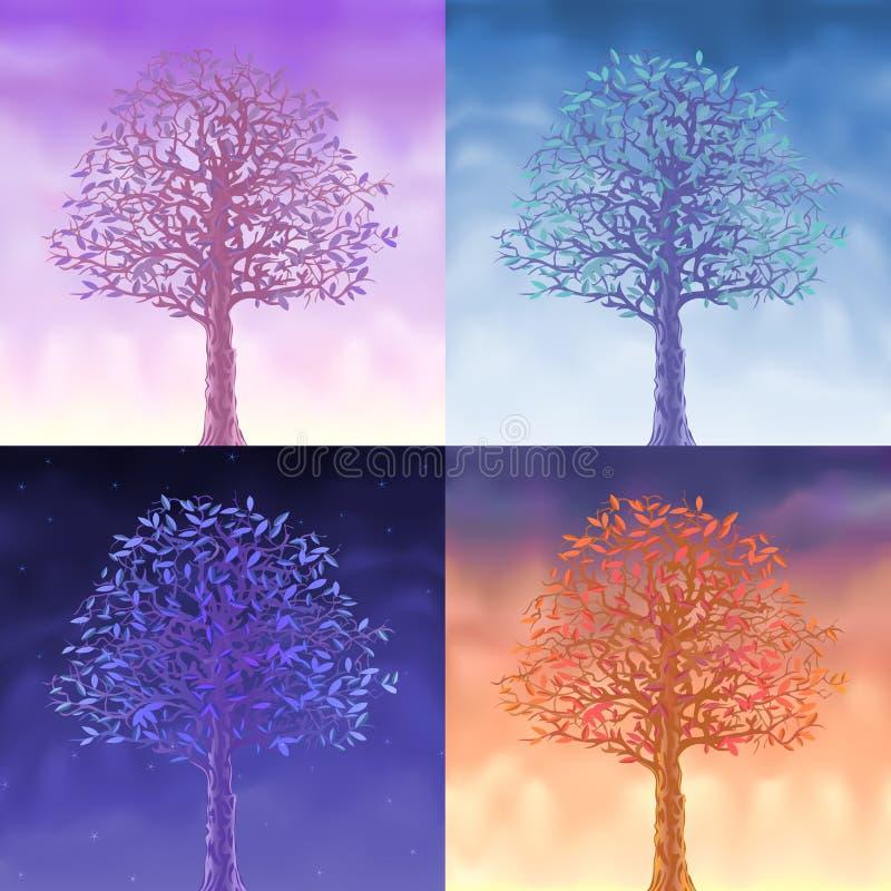 Cuatro árboles del cielo ilustración del vector