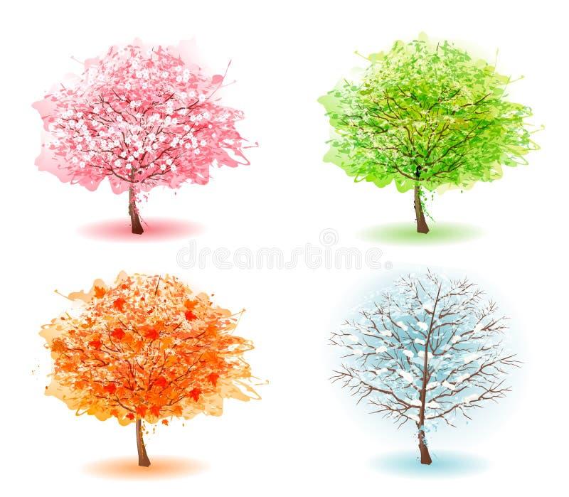 Cuatro árboles estilizados que representan diversas estaciones ilustración del vector