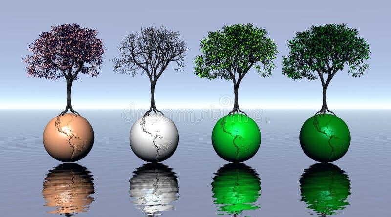 Cuatro árboles y tierras coloreados por cuatro estaciones stock de ilustración