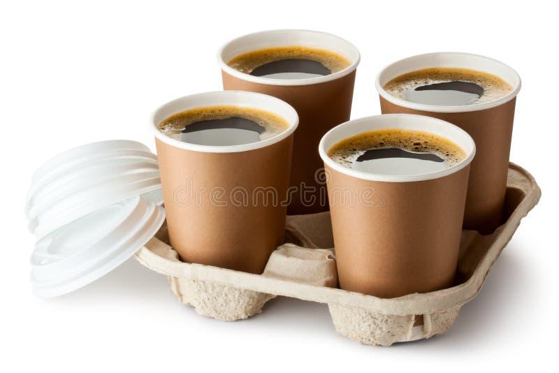 Cuatro abrieron el café para llevar en sostenedor