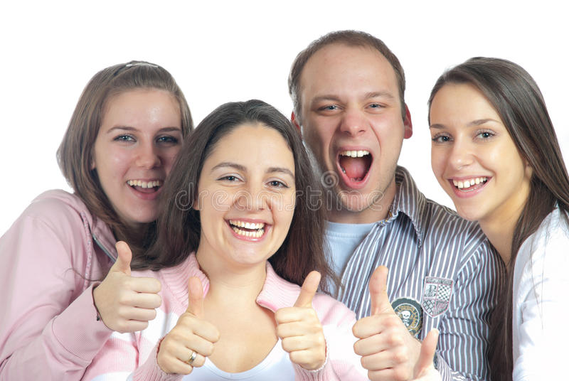 Cuatro amigos satisfechos fotografía de archivo