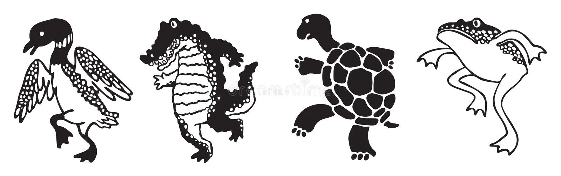 Cuatro animales del humedal de la silueta que caminan en desfile libre illustration
