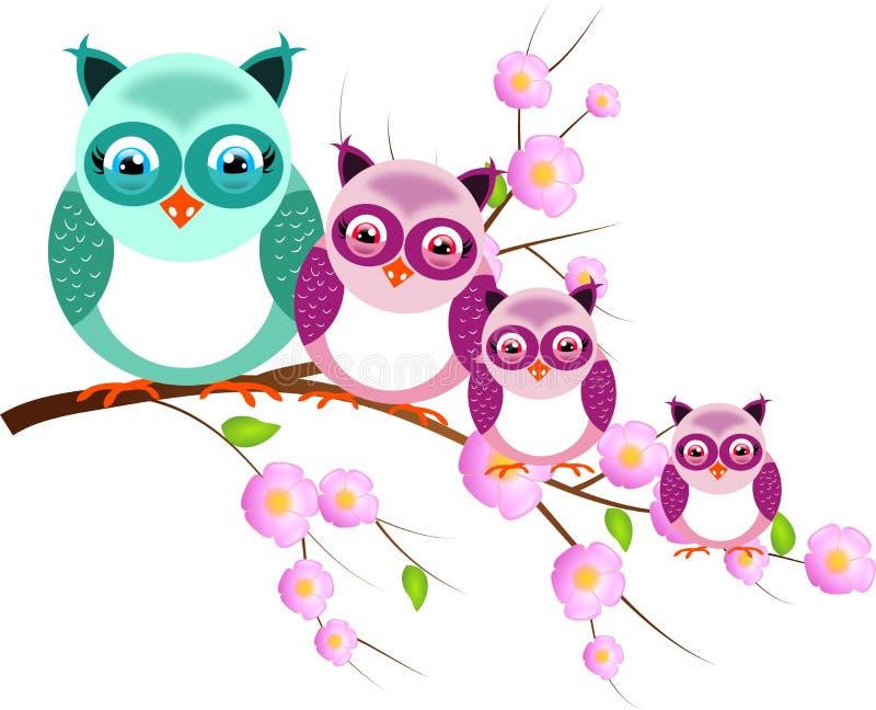 Cuatro búhos en la ramita del árbol ilustración del vector