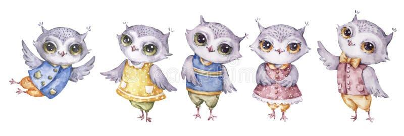 Cuatro búhos lindos de la acuarela, sistema en estilo infantil stock de ilustración