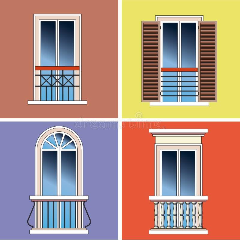 Cuatro balcones franceses clásicos stock de ilustración