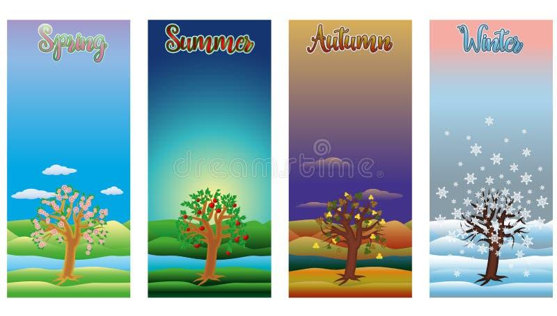 Cuatro banderas de las estaciones, vector ilustración del vector