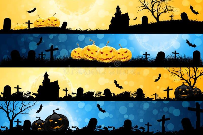 Cuatro banderas de Víspera de Todos los Santos ilustración del vector