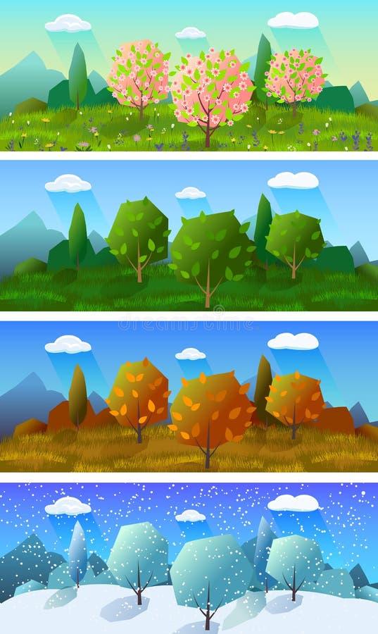 Cuatro banderas del paisaje de las estaciones fijadas stock de ilustración