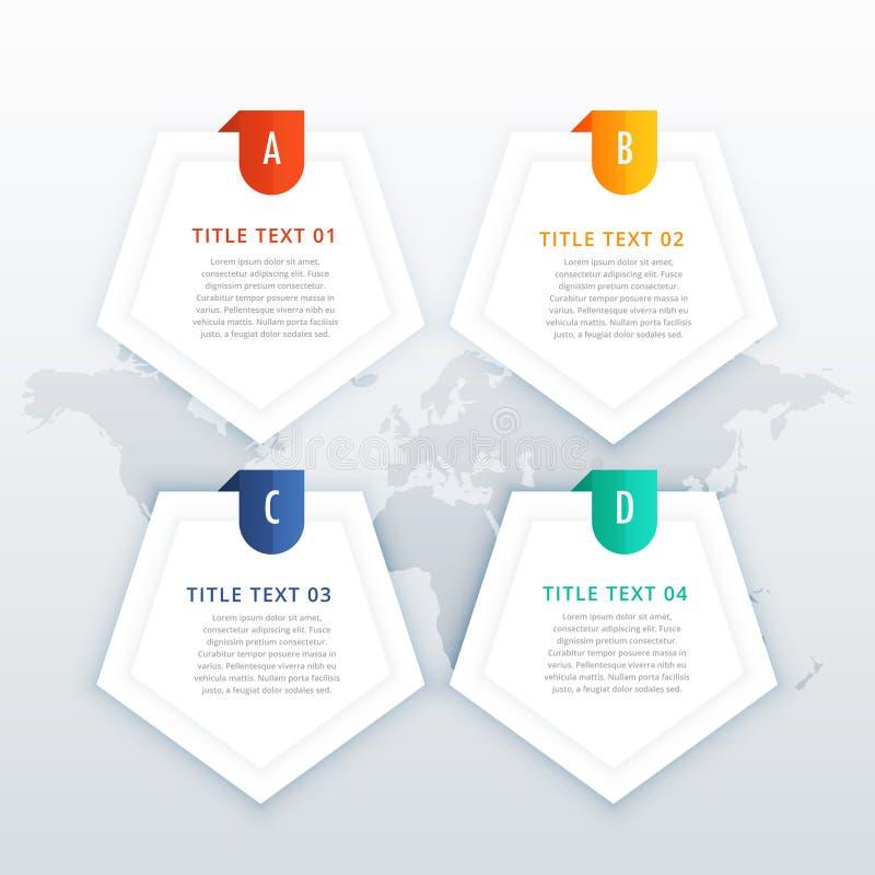 cuatro banderas infographic de los pasos fijadas para la presentación del negocio stock de ilustración