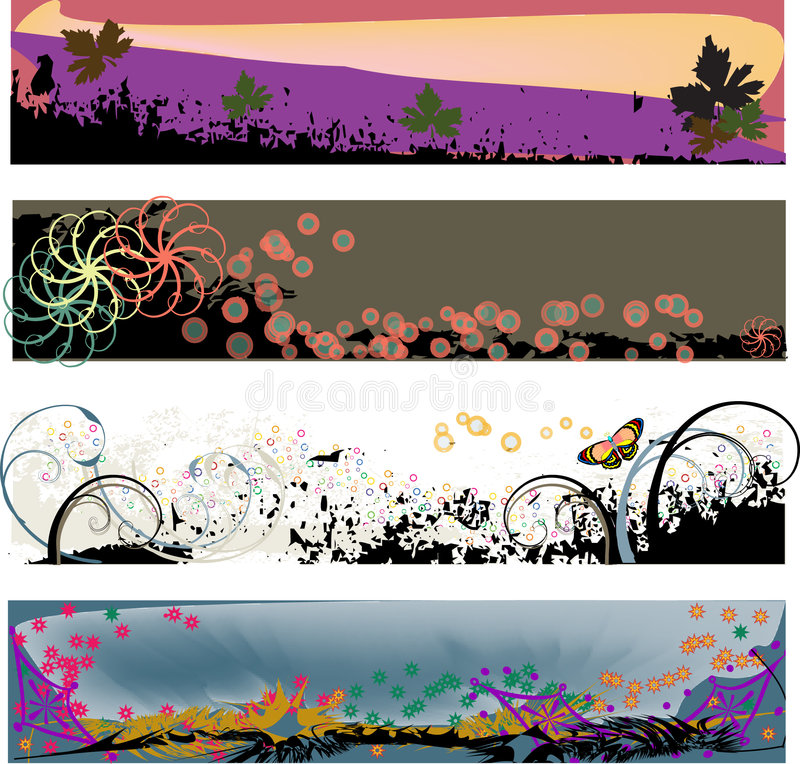 Cuatro cabeceras modernas de Grunge imagen de archivo libre de regalías