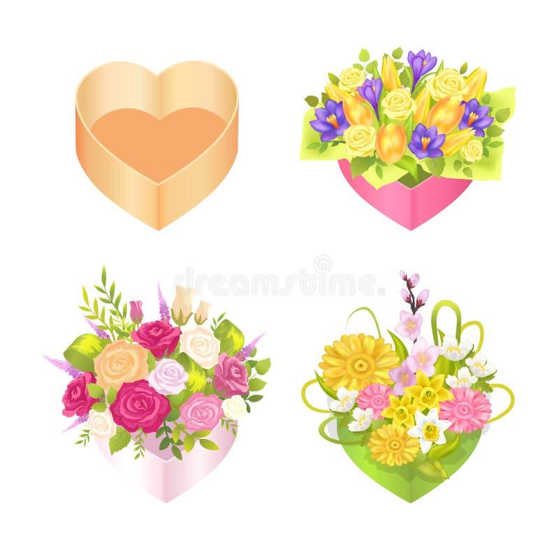 Cuatro cajas coloridas con el corazón s forman, colorean la tarjeta ilustración del vector