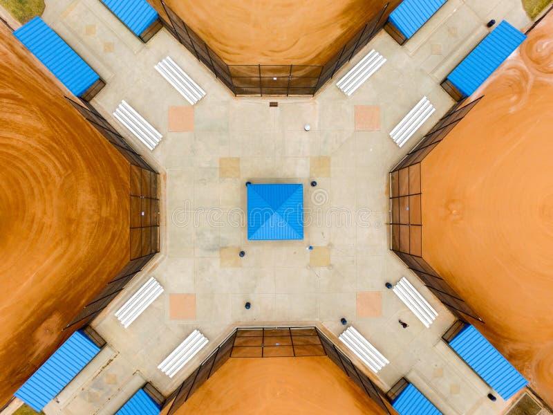 Cuatro campos de béisbol foto de archivo libre de regalías