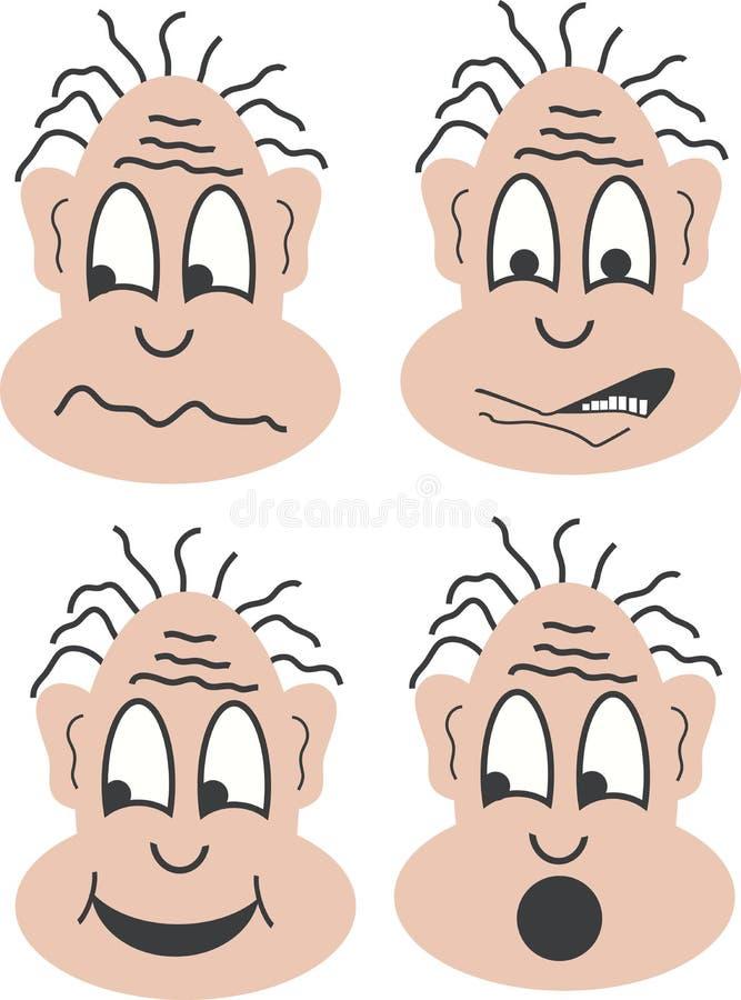 Cuatro caras ilustración del vector