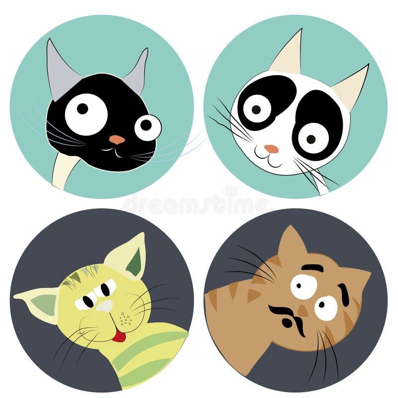 Cuatro caras de gatos ilustración del vector