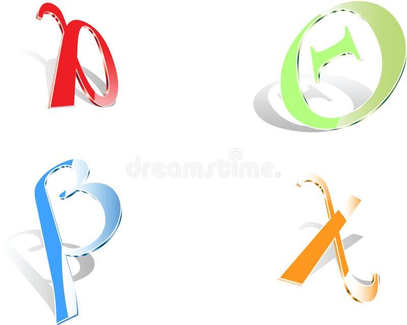 Cuatro cartas del Griego 3D ilustración del vector