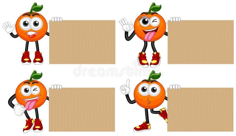 Cuatro cartulinas en blanco con las naranjas frescas libre illustration