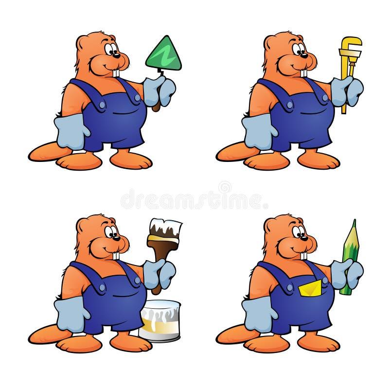 Cuatro castores de la historieta en diversas imágenes de la construcción en un fondo blanco stock de ilustración
